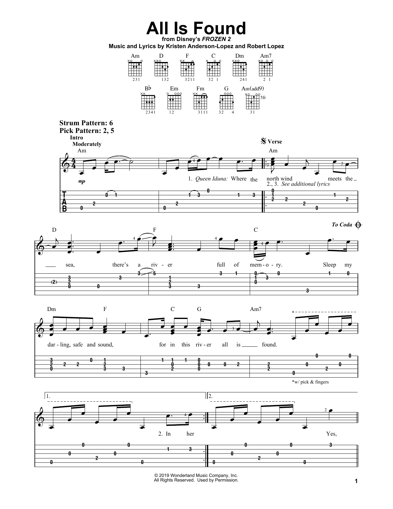 All Is Found (from Disney's Frozen 2) (Easy Guitar Tab)