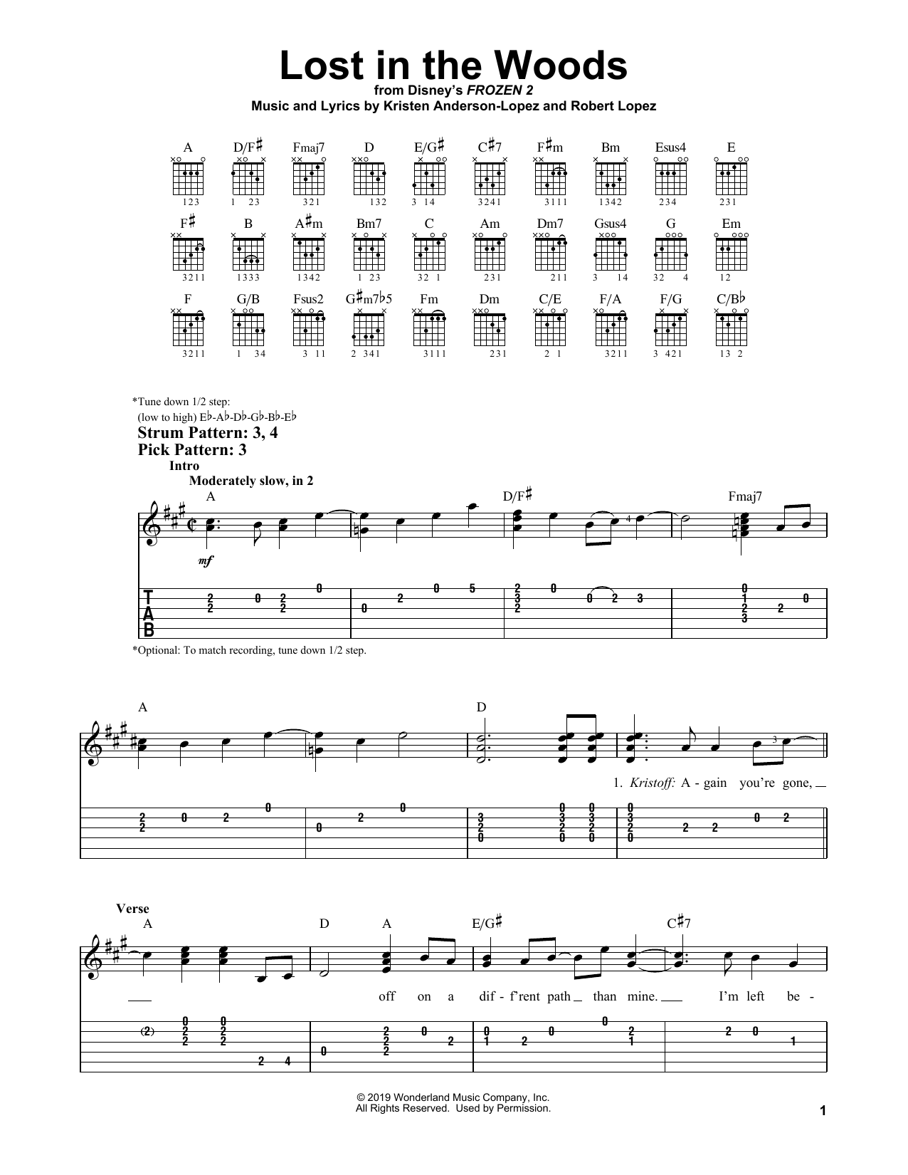 Lost In The Woods (from Disney's Frozen 2) (Easy Guitar Tab)