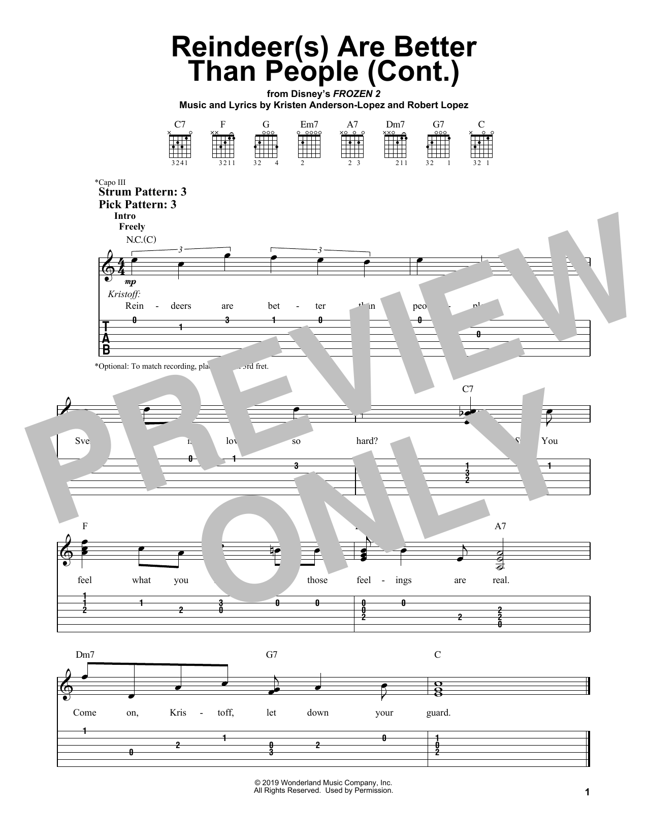 Reindeer(s) Are Better Than People (Cont.) (from Disney's Frozen 2) (Easy Guitar Tab)