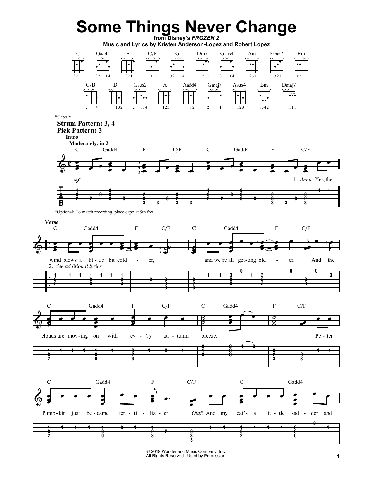 Some Things Never Change (from Disney's Frozen 2) (Easy Guitar Tab)