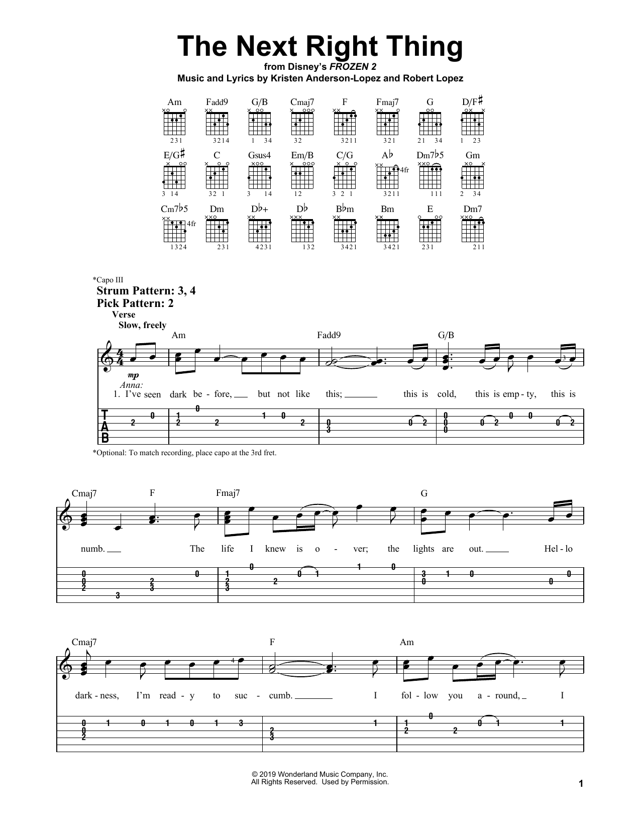 The Next Right Thing (from Disney's Frozen 2) (Easy Guitar Tab)
