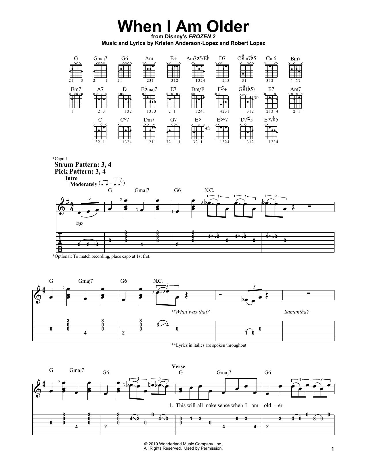 When I Am Older (from Disney's Frozen 2) (Easy Guitar Tab)