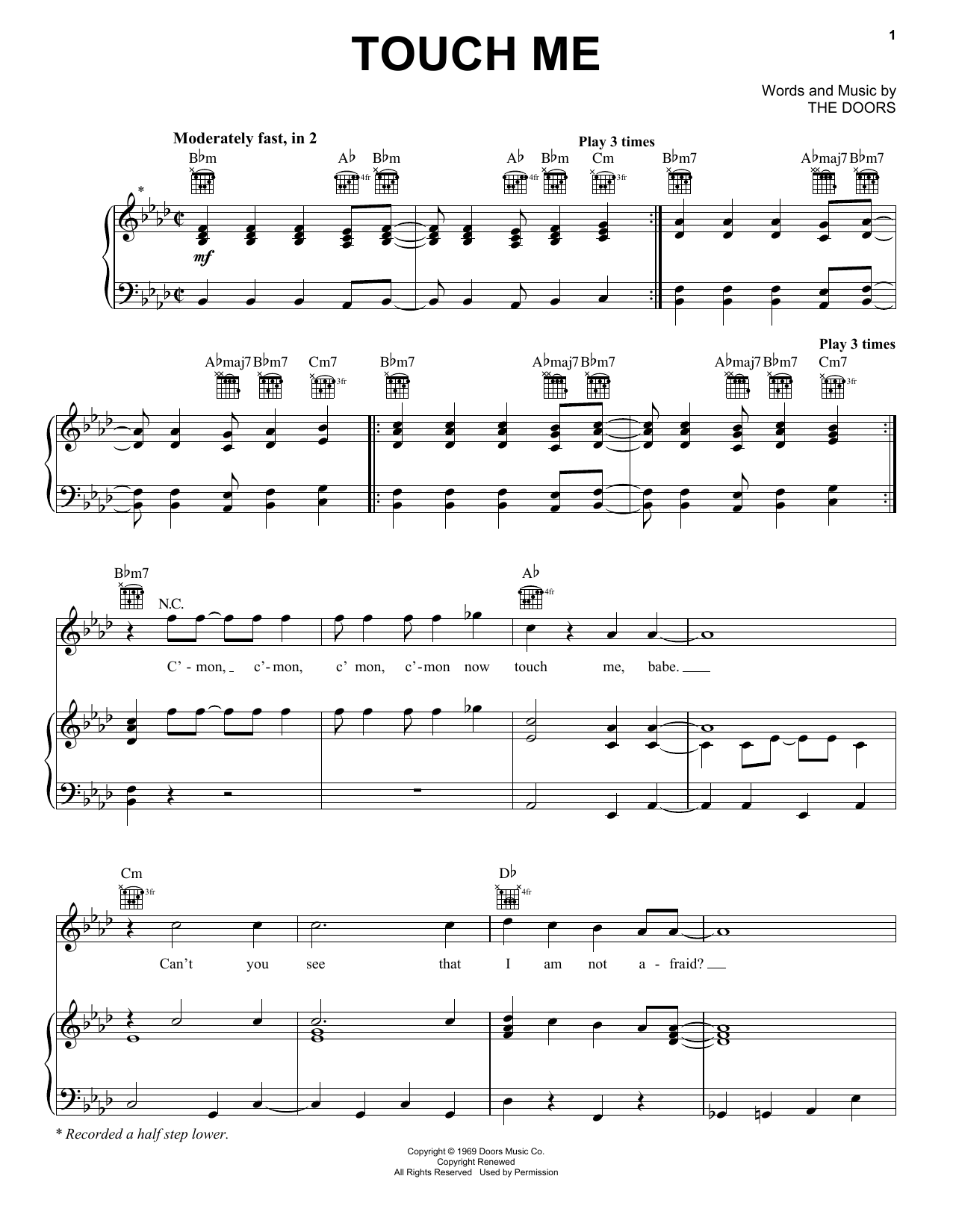 Touch Me (Piano, Vocal & Guitar (Right-Hand Melody))