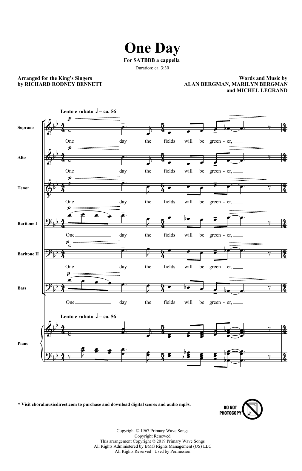 One Day (arr. Richard Rodney Bennett) (SATB Choir)