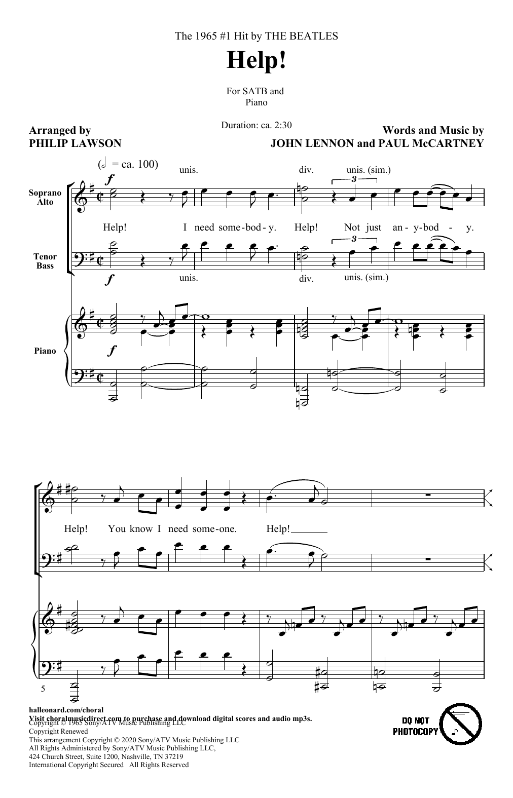 Help! (arr. Philip Lawson) (SATB Choir)
