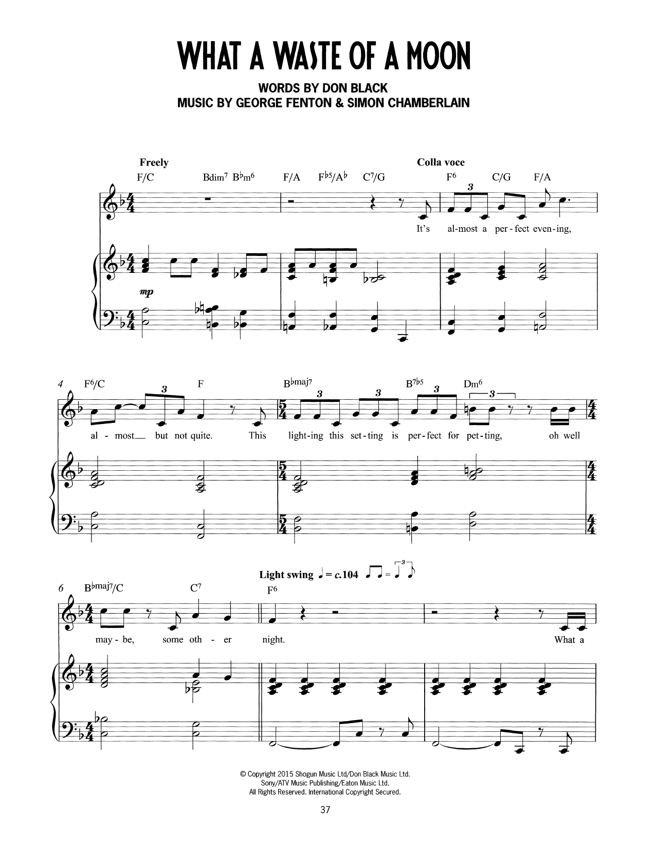 What A Waste Of A Moon (from Mrs Henderson Presents) (Piano & Vocal)