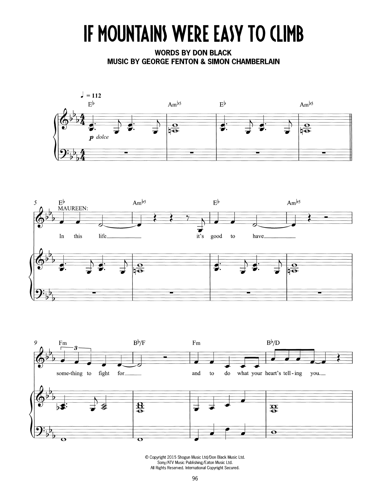 If Mountains Were Easy To Climb (from Mrs Henderson Presents) (Piano & Vocal)