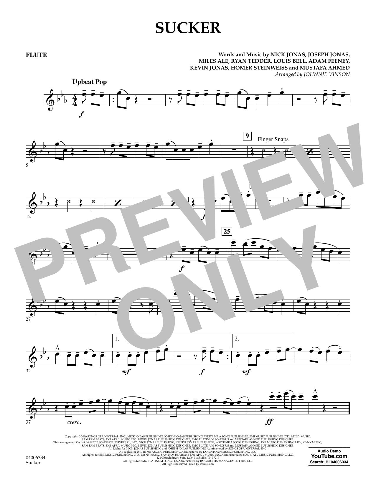 Sucker (arr. Johnnie Vinson) - Flute Digitale Noten