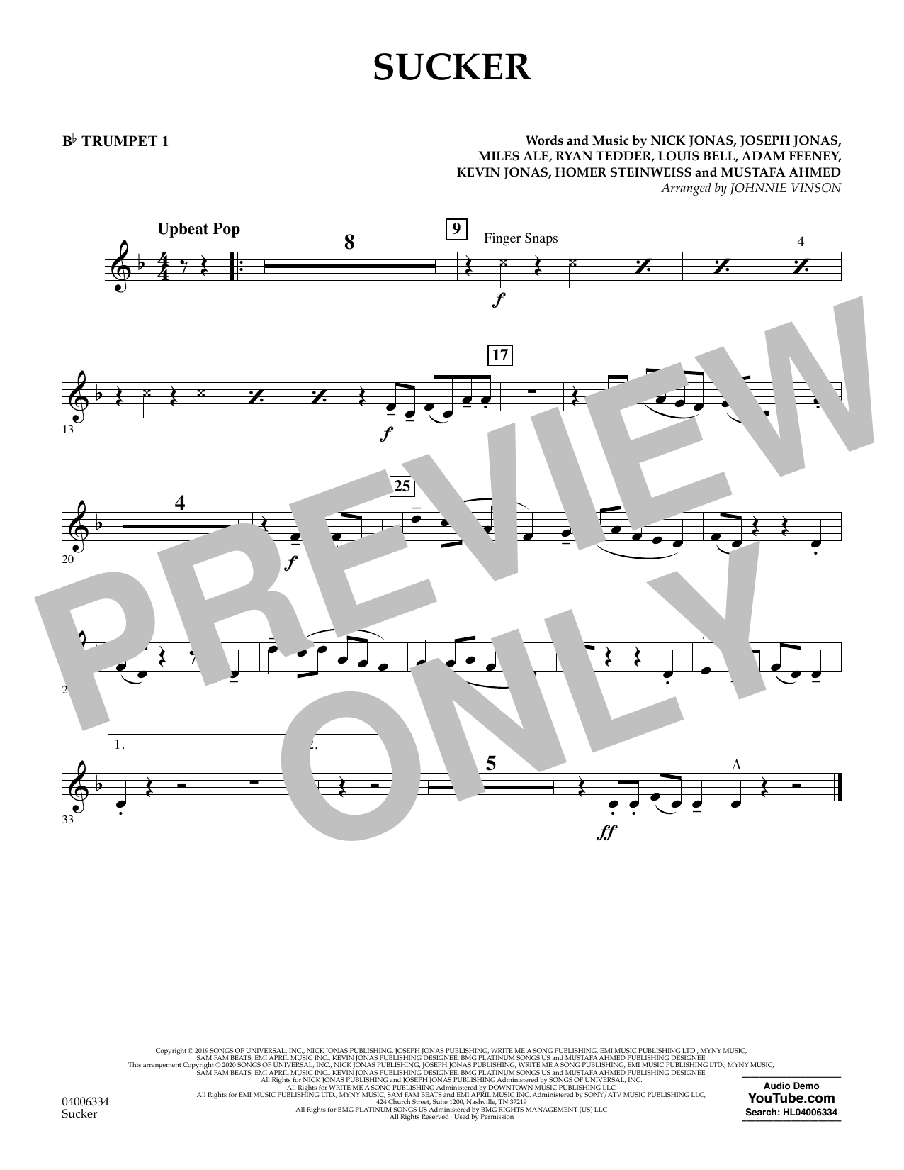 Sucker (arr. Johnnie Vinson) - Bb Trumpet 1 Partition Digitale