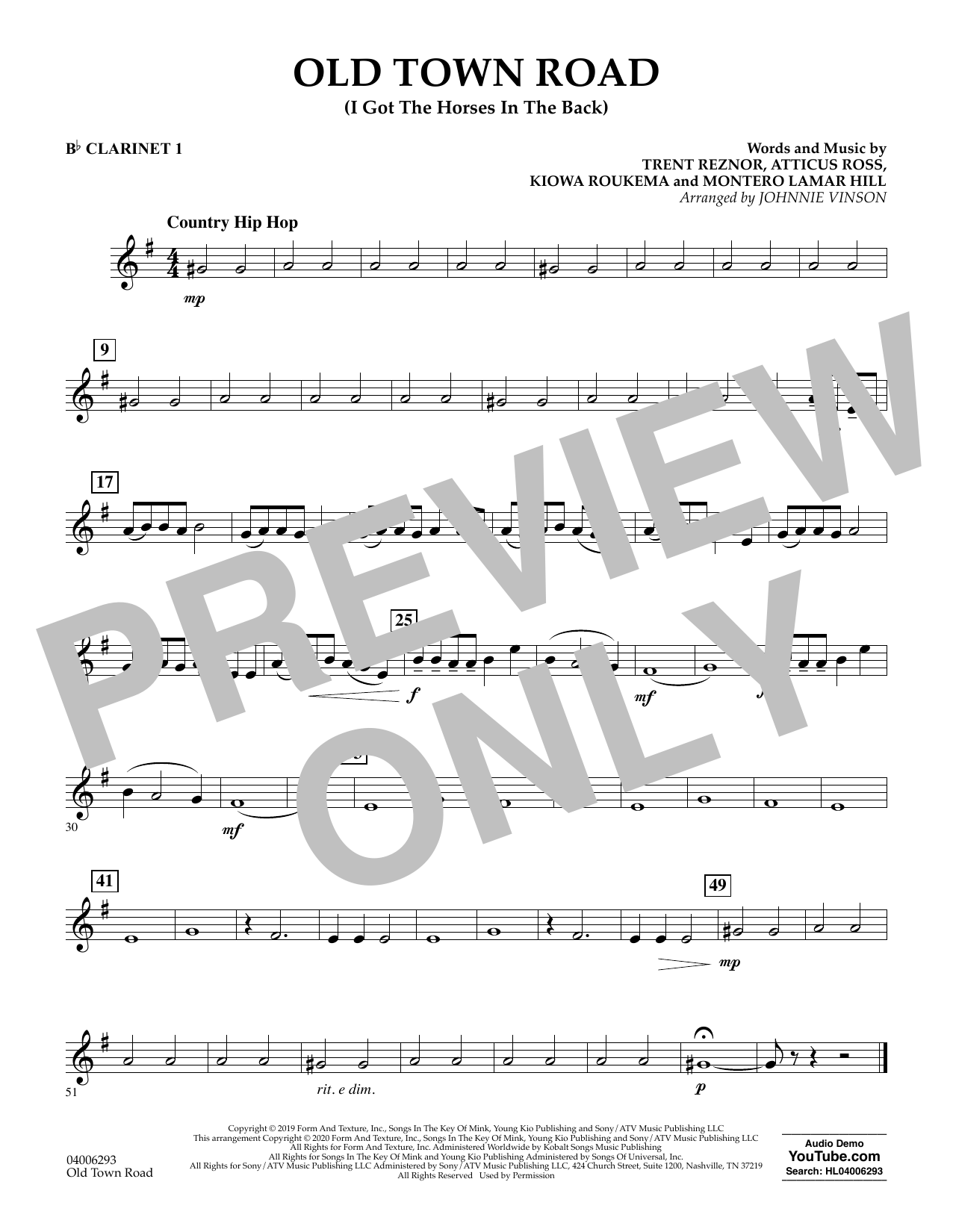 Old Town Road Arr Johnnie Vinson Bb Clarinet 1 Sheet Music Lil Nas X Feat Billy Ray Cyrus Concert Band