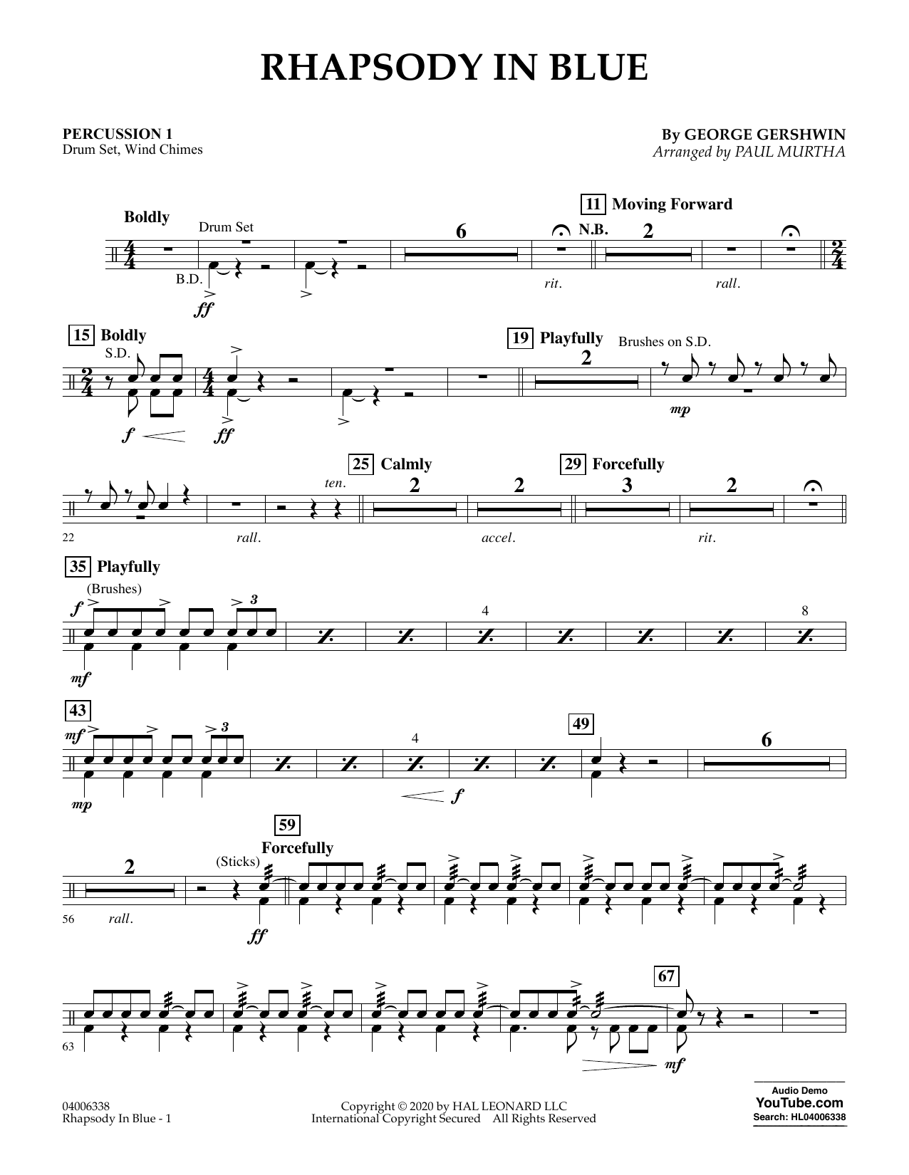 Rhapsody in Blue (arr. Paul Murtha) - Percussion 1 (Concert Band: Flex-Band)