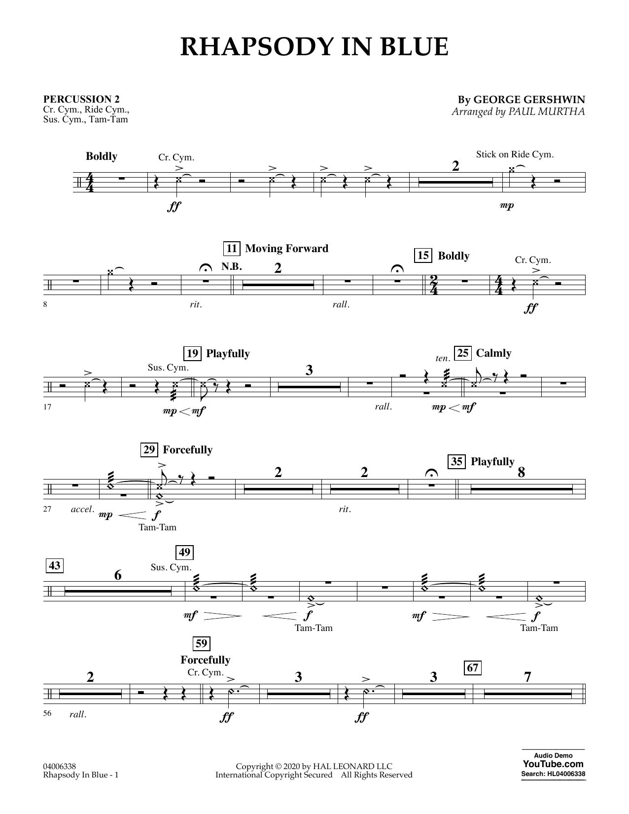 Rhapsody in Blue (arr. Paul Murtha) - Percussion 2 (Flex-Band)