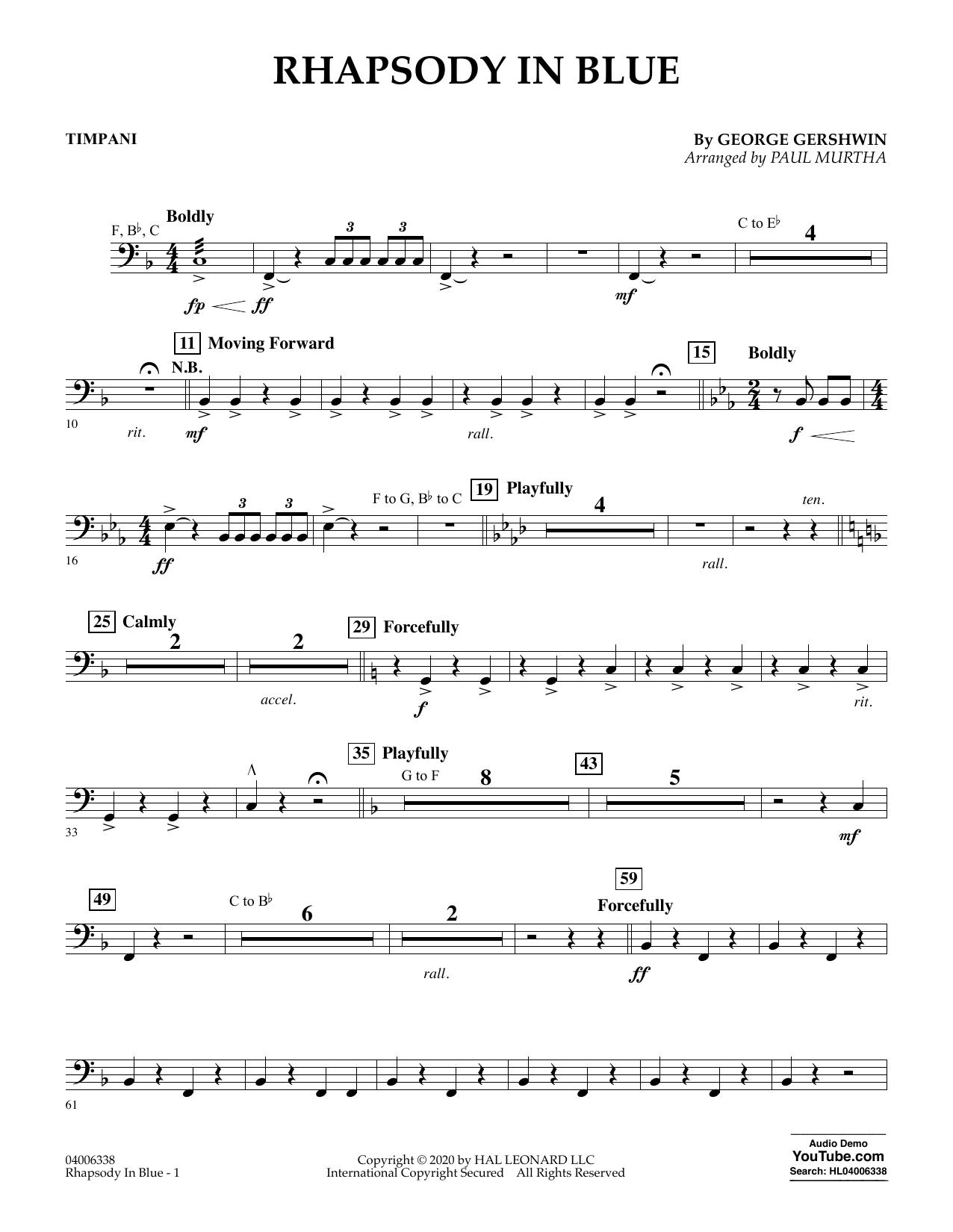 Rhapsody in Blue (arr. Paul Murtha) - Timpani (Flex-Band)