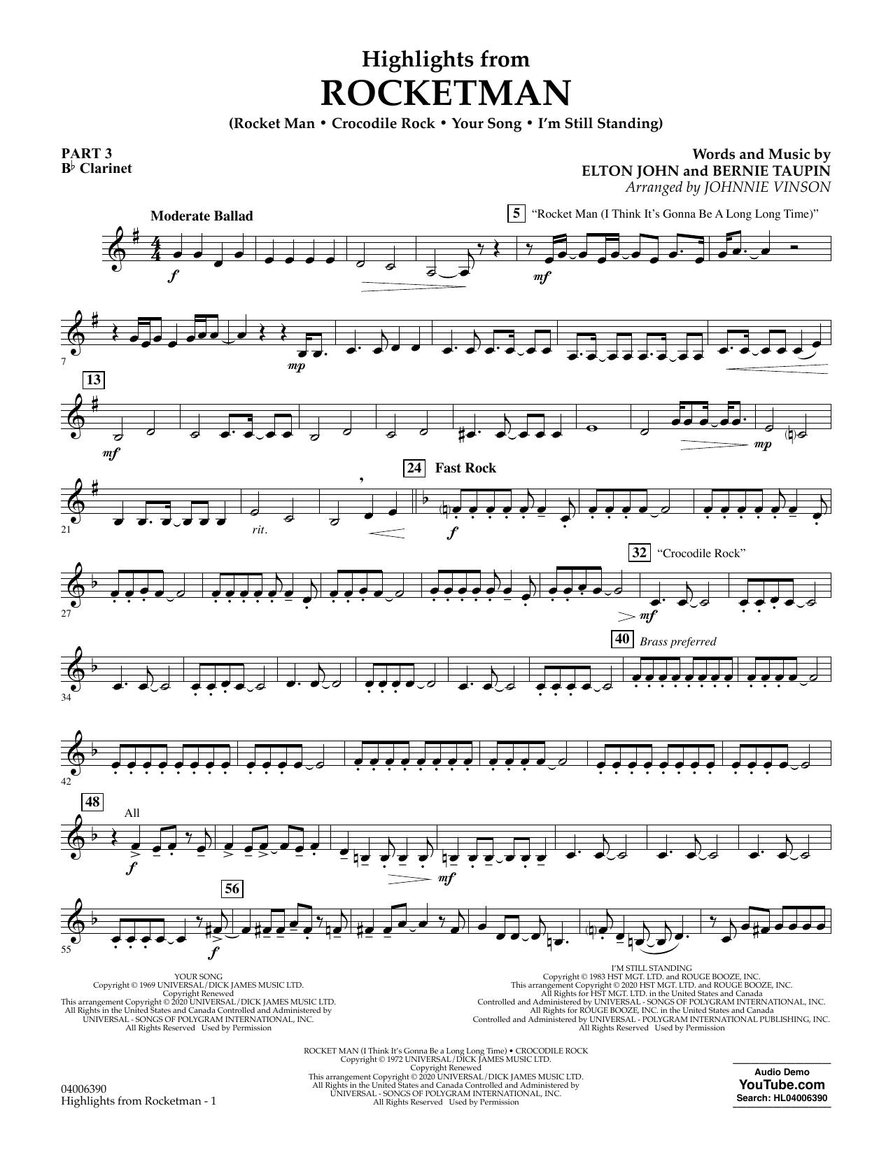 Highlights from Rocketman (arr. Johnnie Vinson) - Pt.3 - Bb Clarinet (Flex-Band)