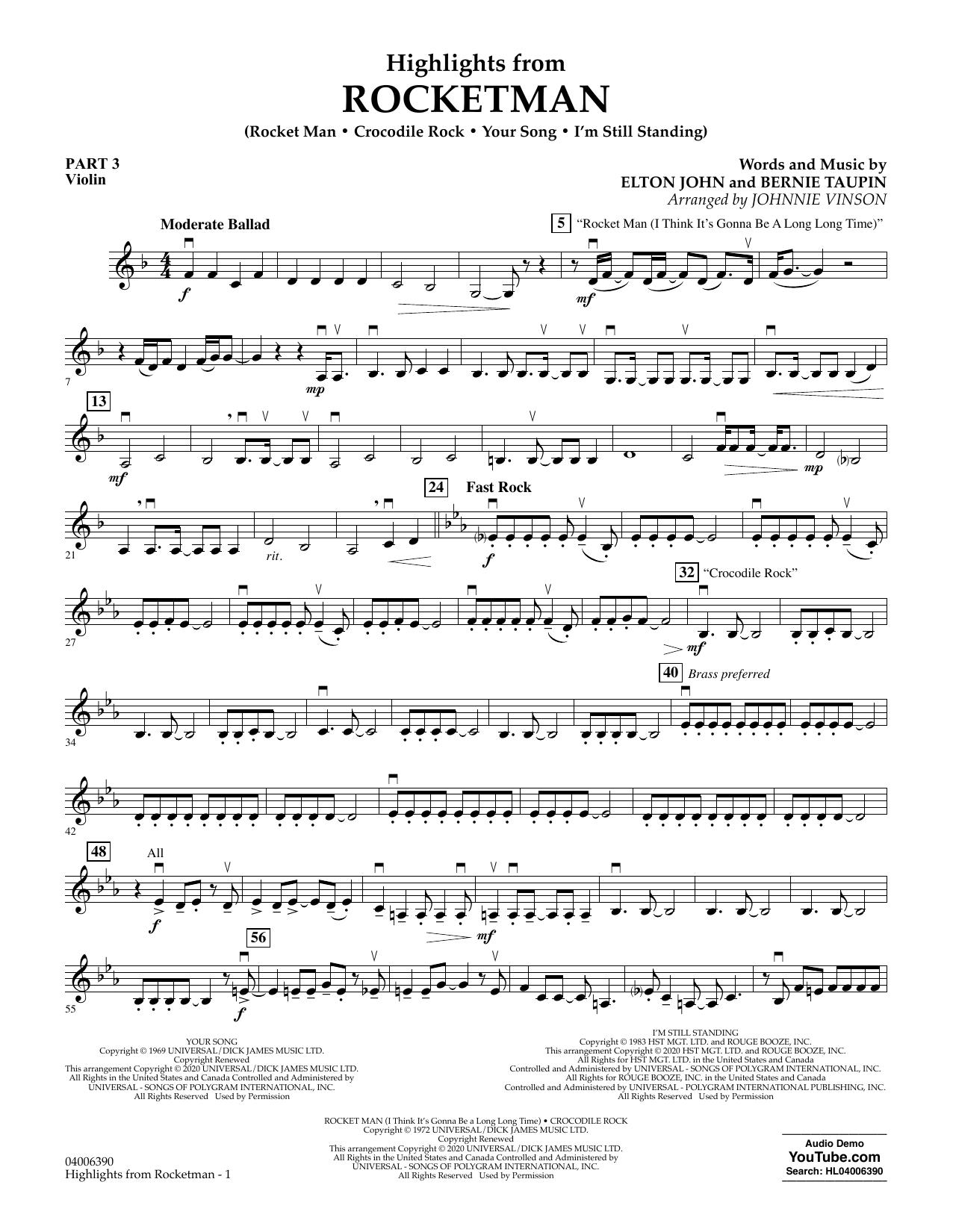 Highlights from Rocketman (arr. Johnnie Vinson) - Pt.3 - Violin (Flex-Band)