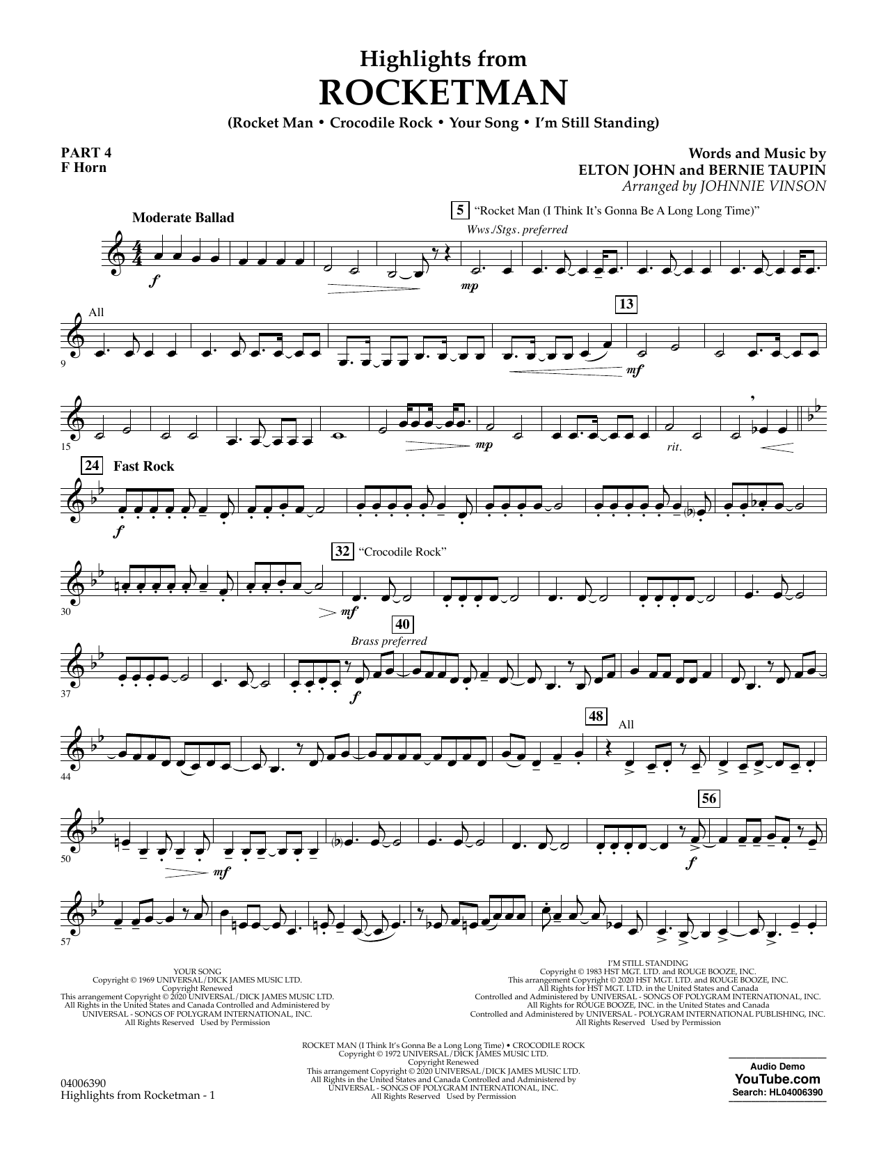 Highlights from Rocketman (arr. Johnnie Vinson) - Pt.4 - F Horn (Flex-Band)
