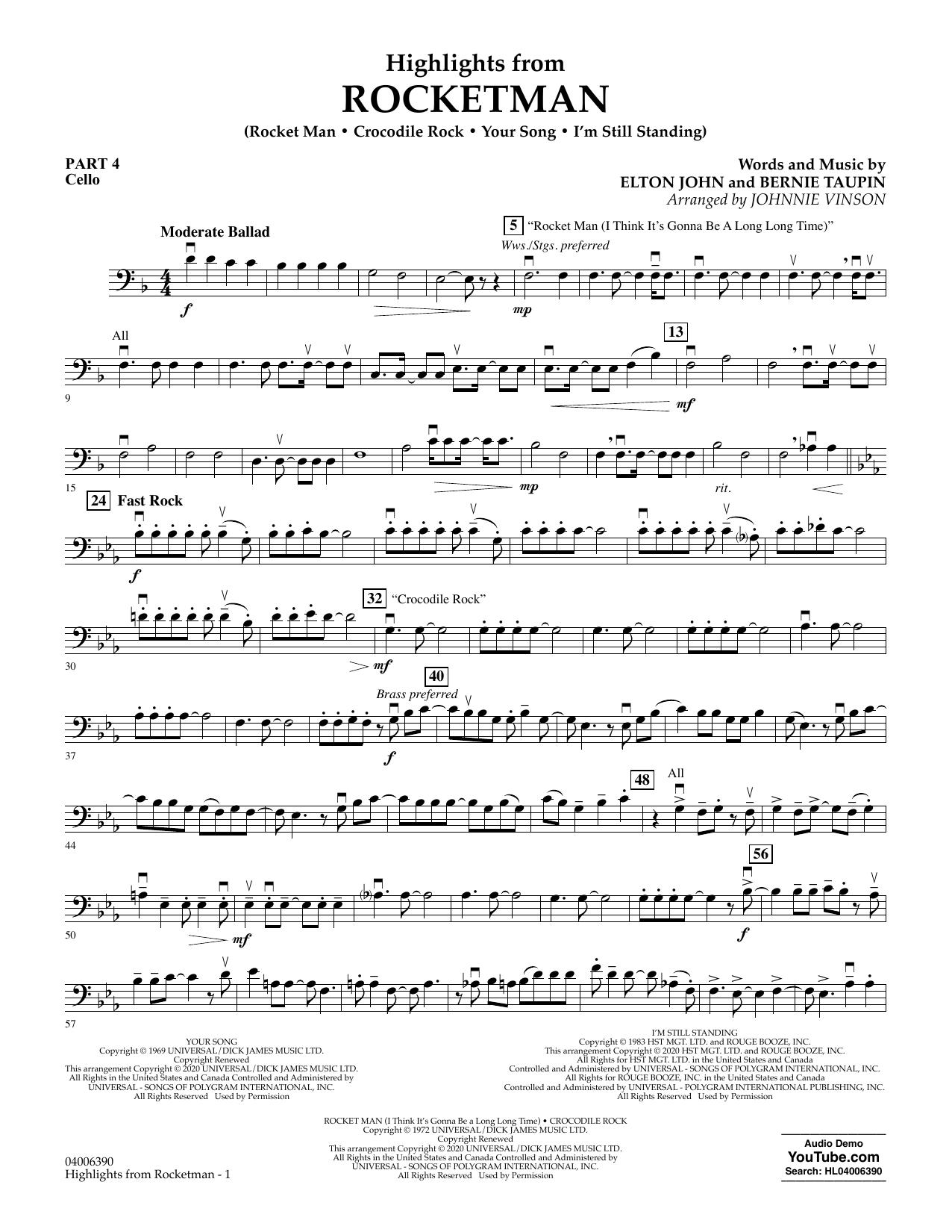 Highlights from Rocketman (arr. Johnnie Vinson) - Pt.4 - Cello (Flex-Band)