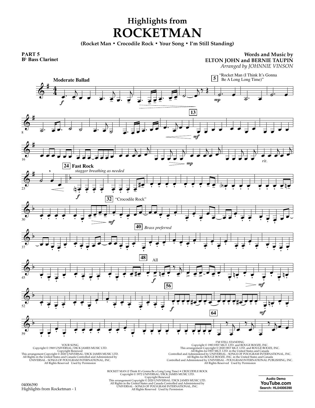 Highlights from Rocketman (arr. Johnnie Vinson) - Pt.5 - Bb Bass Clarinet (Flex-Band)