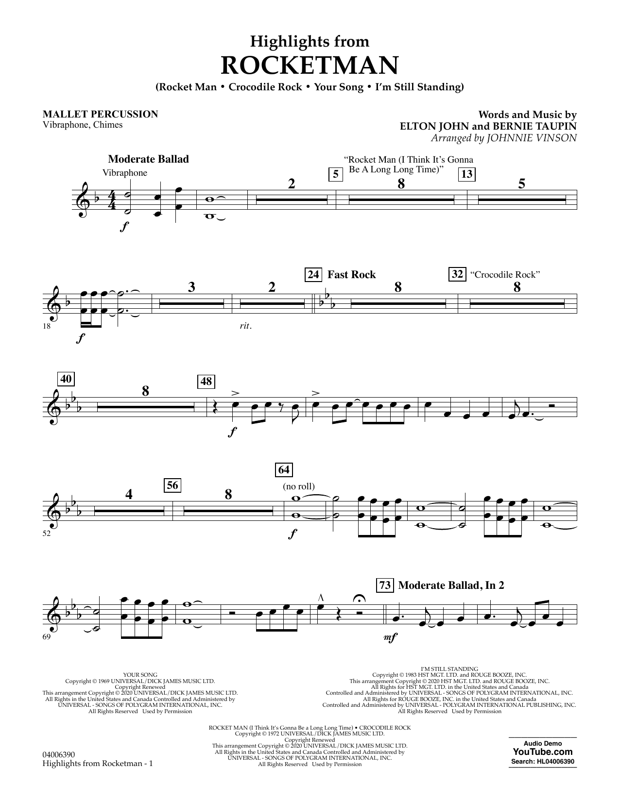 Highlights from Rocketman (arr. Johnnie Vinson) - Mallet Percussion (Flex-Band)