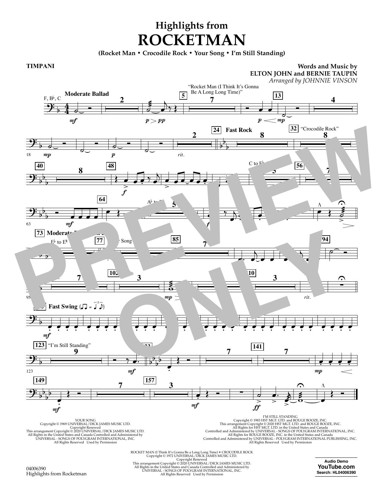 Highlights from Rocketman (arr. Johnnie Vinson) - Timpani (Flex-Band)