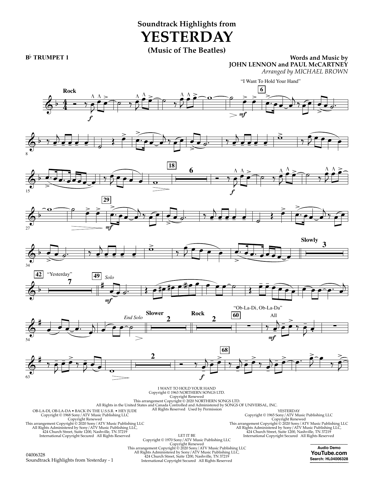 Highlights from Yesterday (Music Of The Beatles) (arr. Michael Brown) - Bb Trumpet 1 (Concert Band)