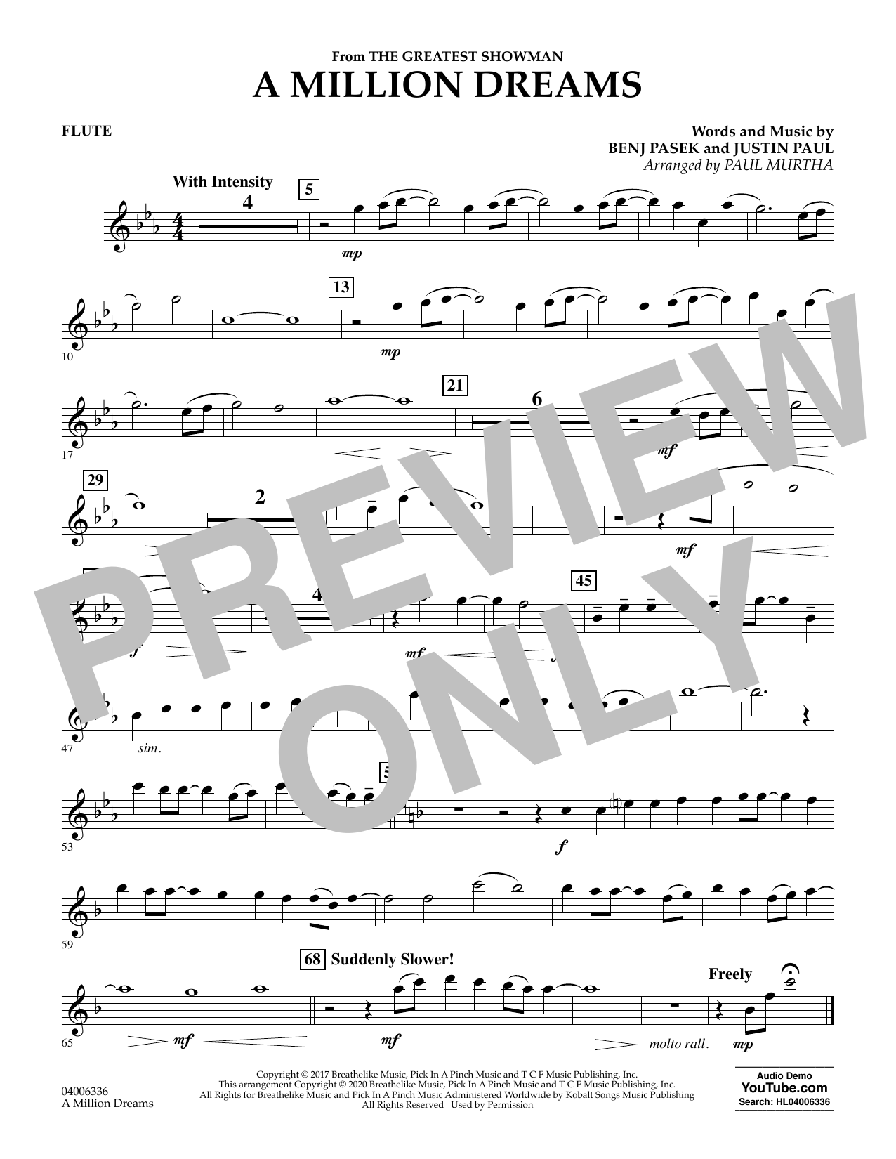 A Million Dreams (from The Greatest Showman) (arr. Paul Murtha) - Flute (Concert Band)