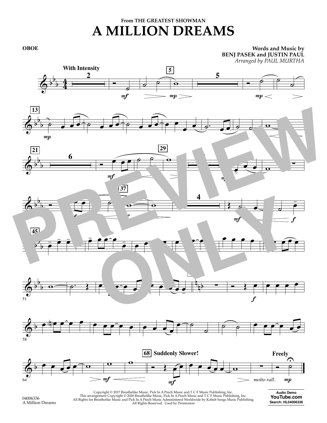 A Million Dreams (from The Greatest Showman) (arr. Paul Murtha) - Oboe (Concert Band)