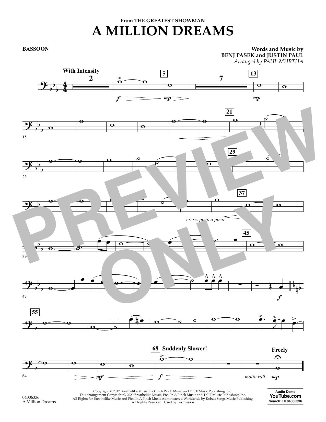 A Million Dreams (from The Greatest Showman) (arr. Paul Murtha) - Bassoon (Concert Band)