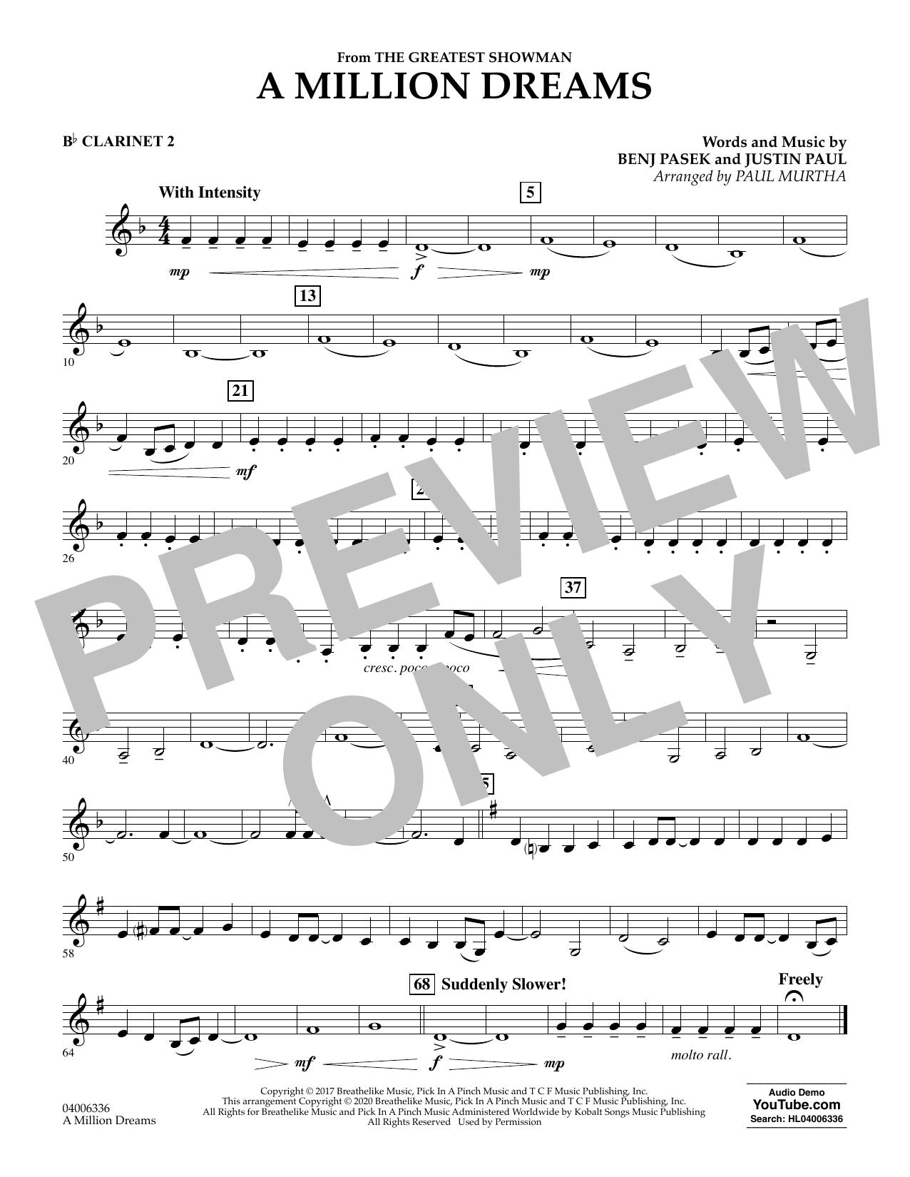 A Million Dreams (from The Greatest Showman) (arr. Paul Murtha) - Bb Clarinet 2 (Concert Band)