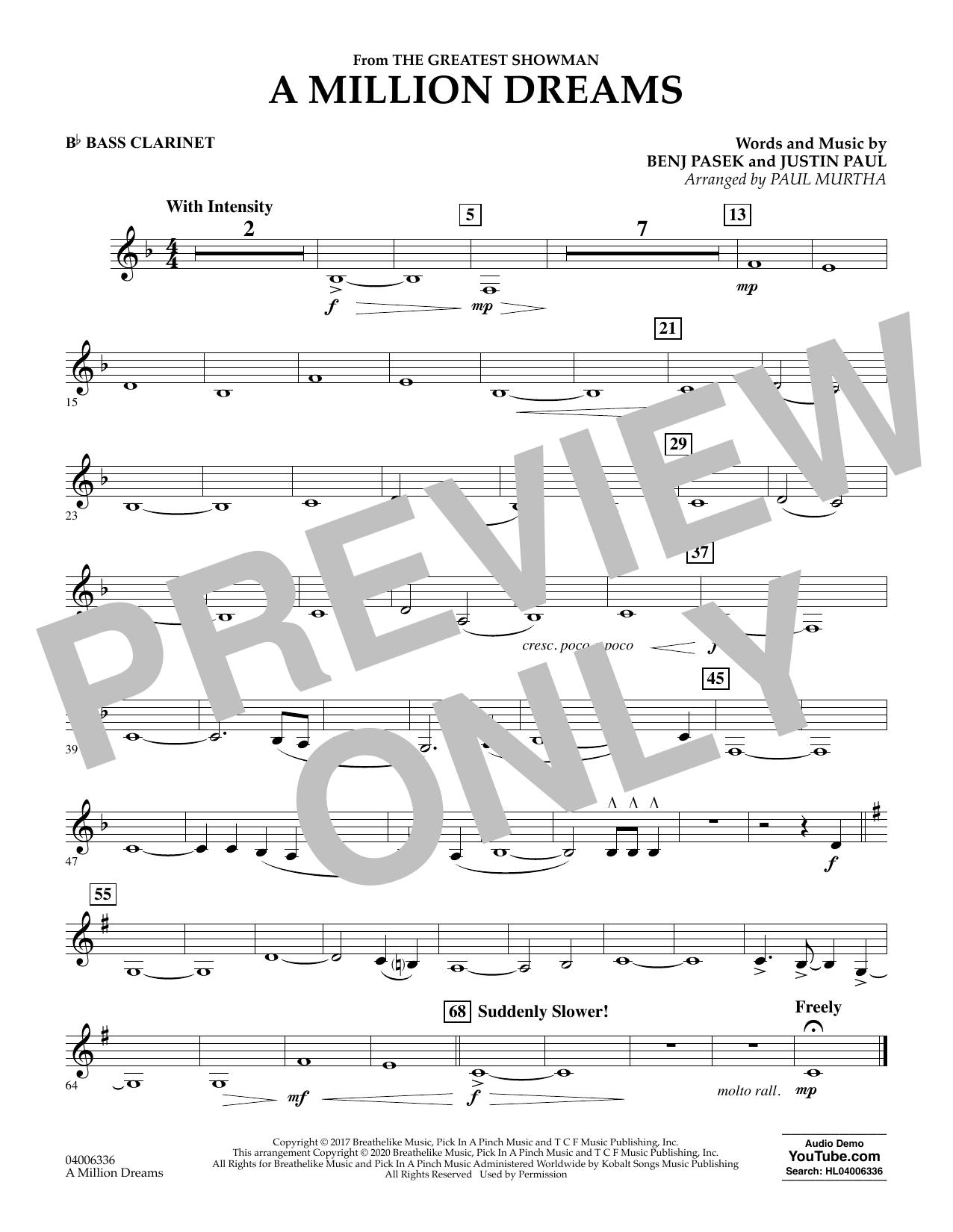 A Million Dreams (from The Greatest Showman) (arr. Paul Murtha) - Bb Bass Clarinet (Concert Band)