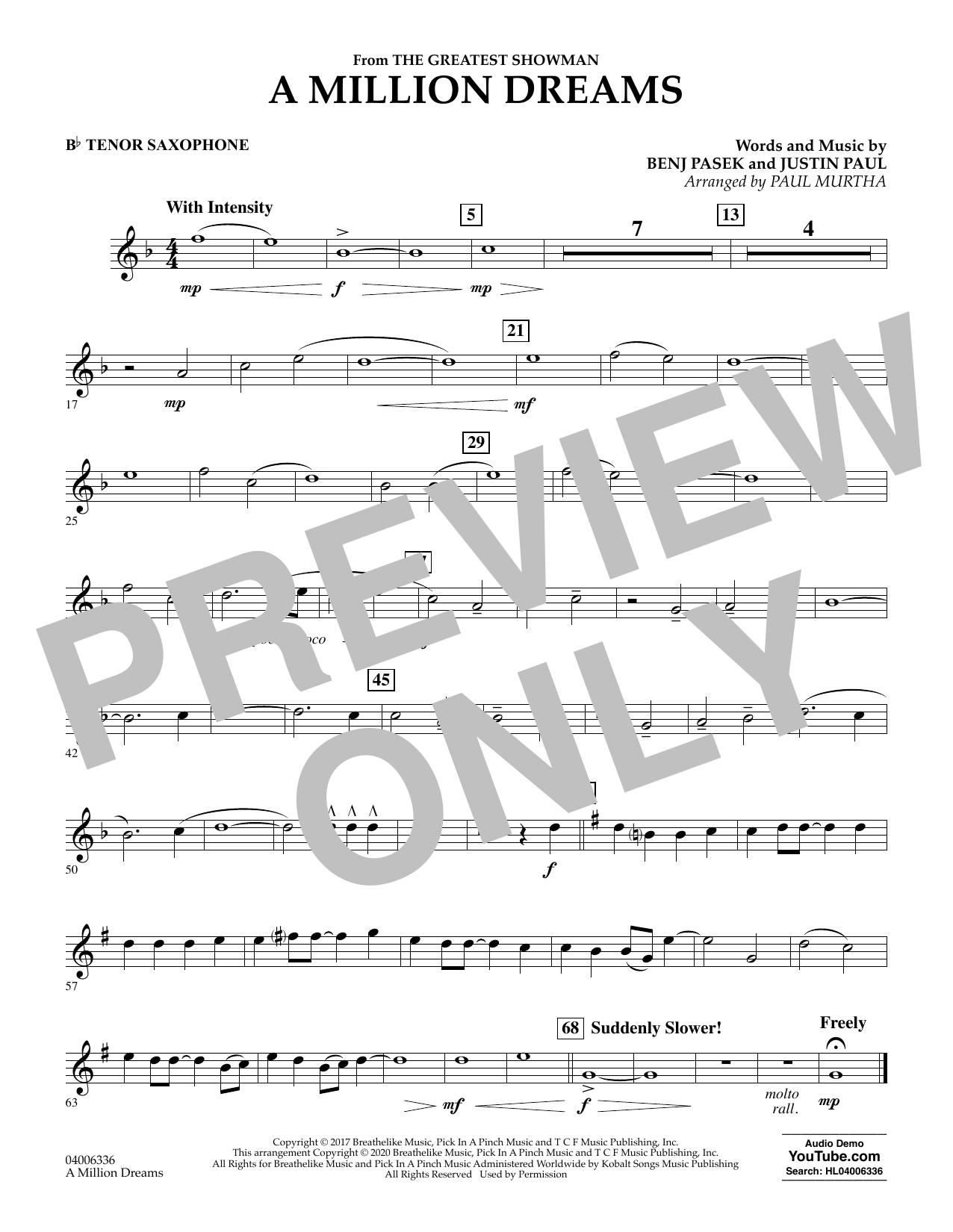 A Million Dreams (from The Greatest Showman) (arr. Paul Murtha) - Bb Tenor Saxophone (Concert Band)