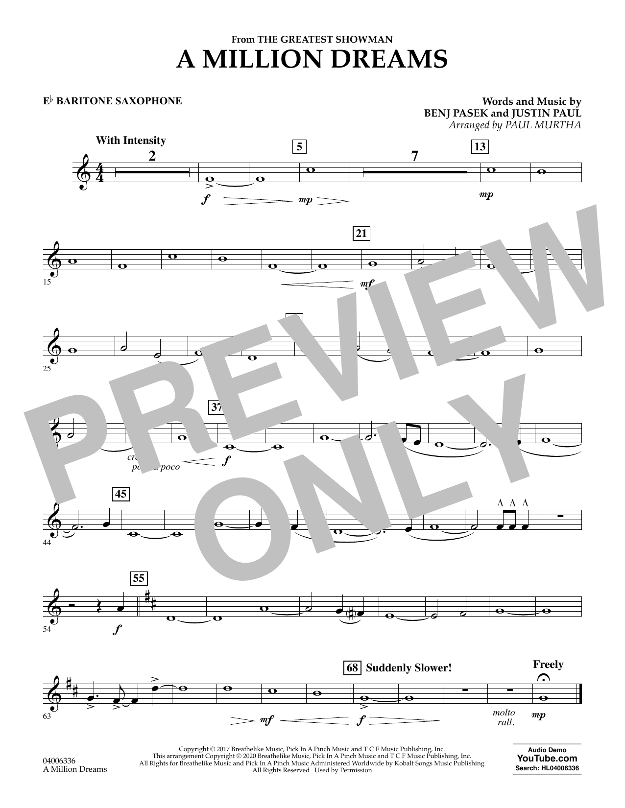 A Million Dreams (from The Greatest Showman) (arr. Paul Murtha) - Eb Baritone Saxophone (Concert Band)