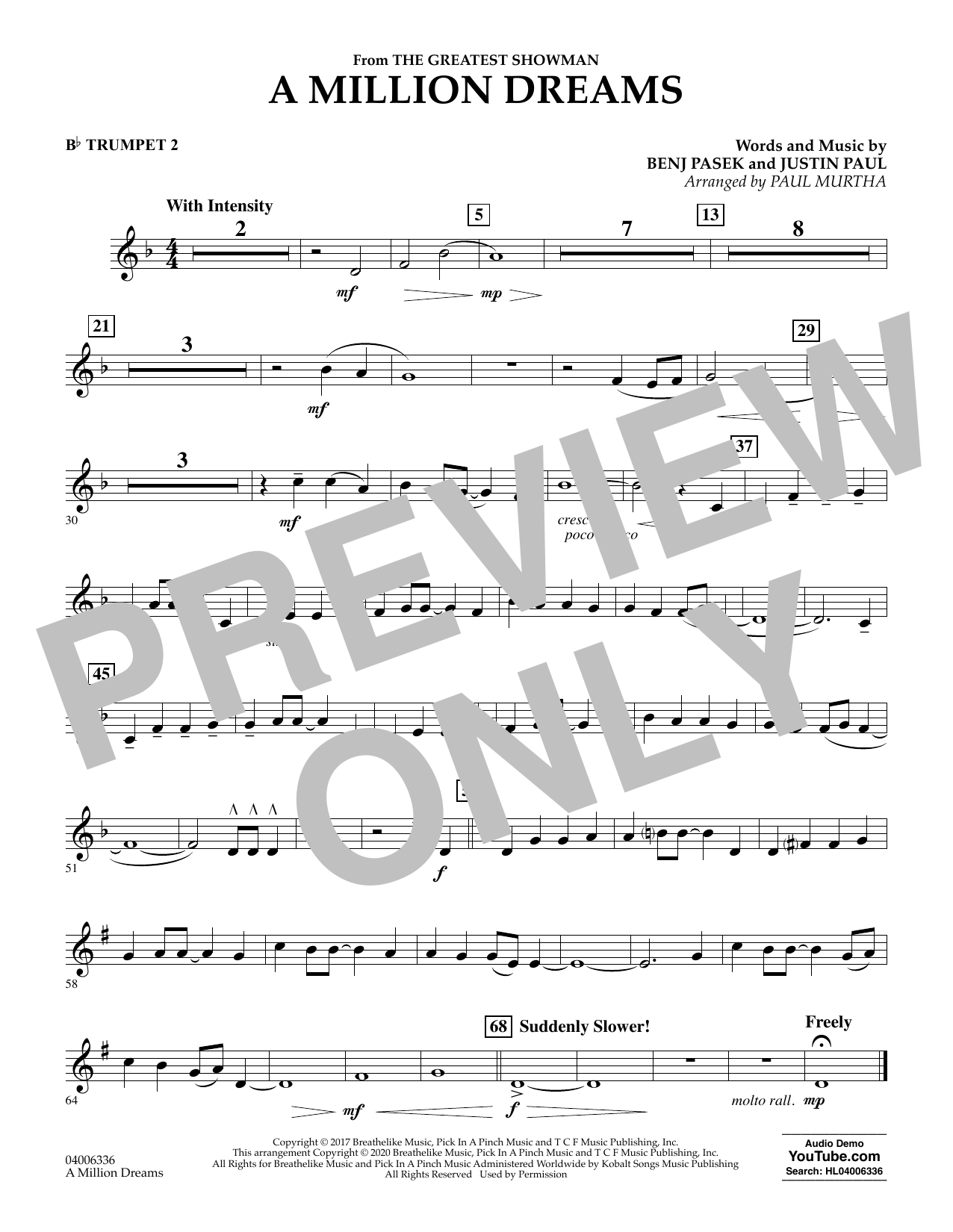 A Million Dreams (from The Greatest Showman) (arr. Paul Murtha) - Bb Trumpet 2 (Concert Band)
