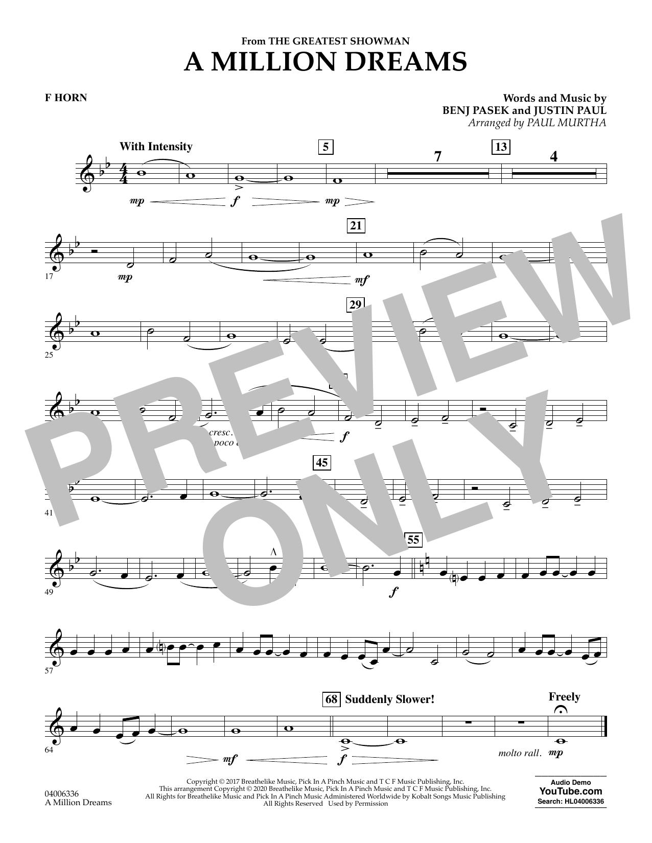 A Million Dreams (from The Greatest Showman) (arr. Paul Murtha) - F Horn (Concert Band)