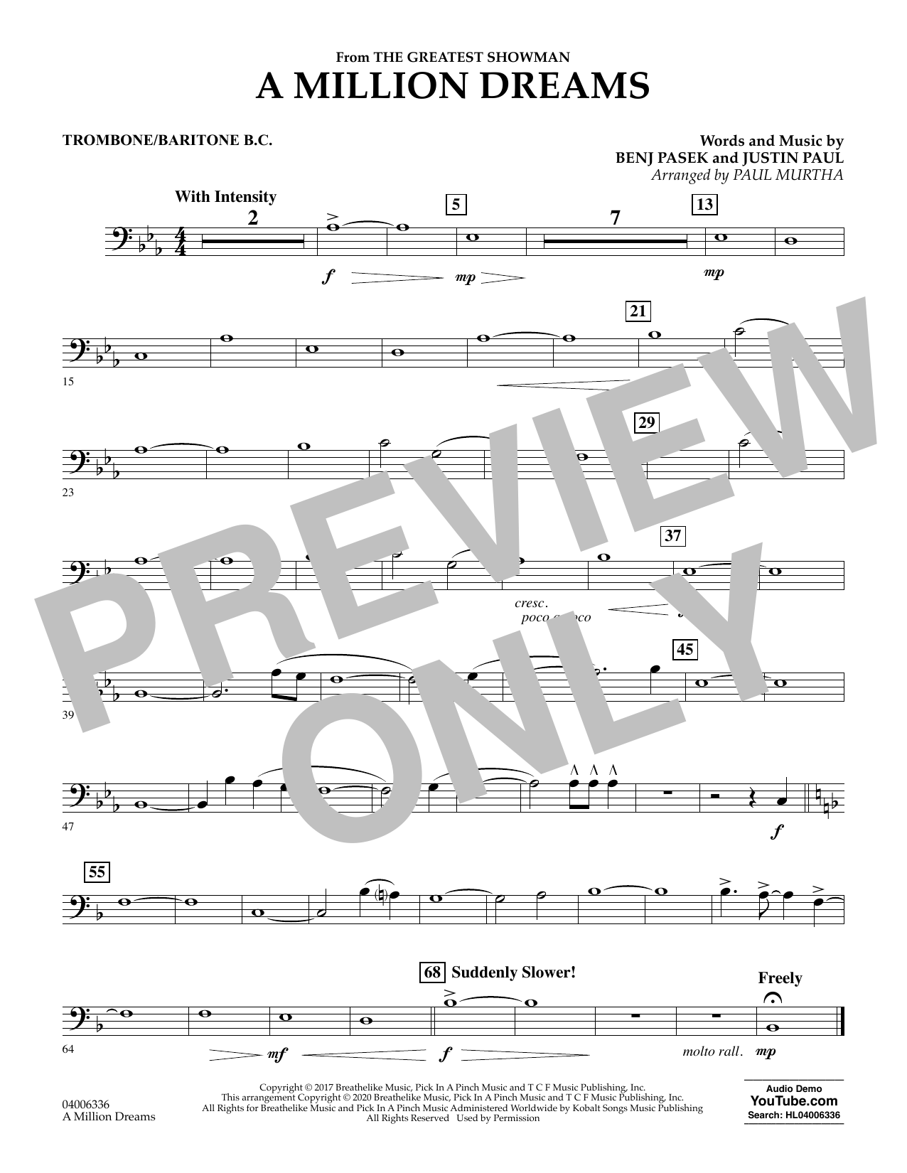 A Million Dreams (from The Greatest Showman) (arr. Paul Murtha) - Trombone/Baritone B.C. (Concert Band)