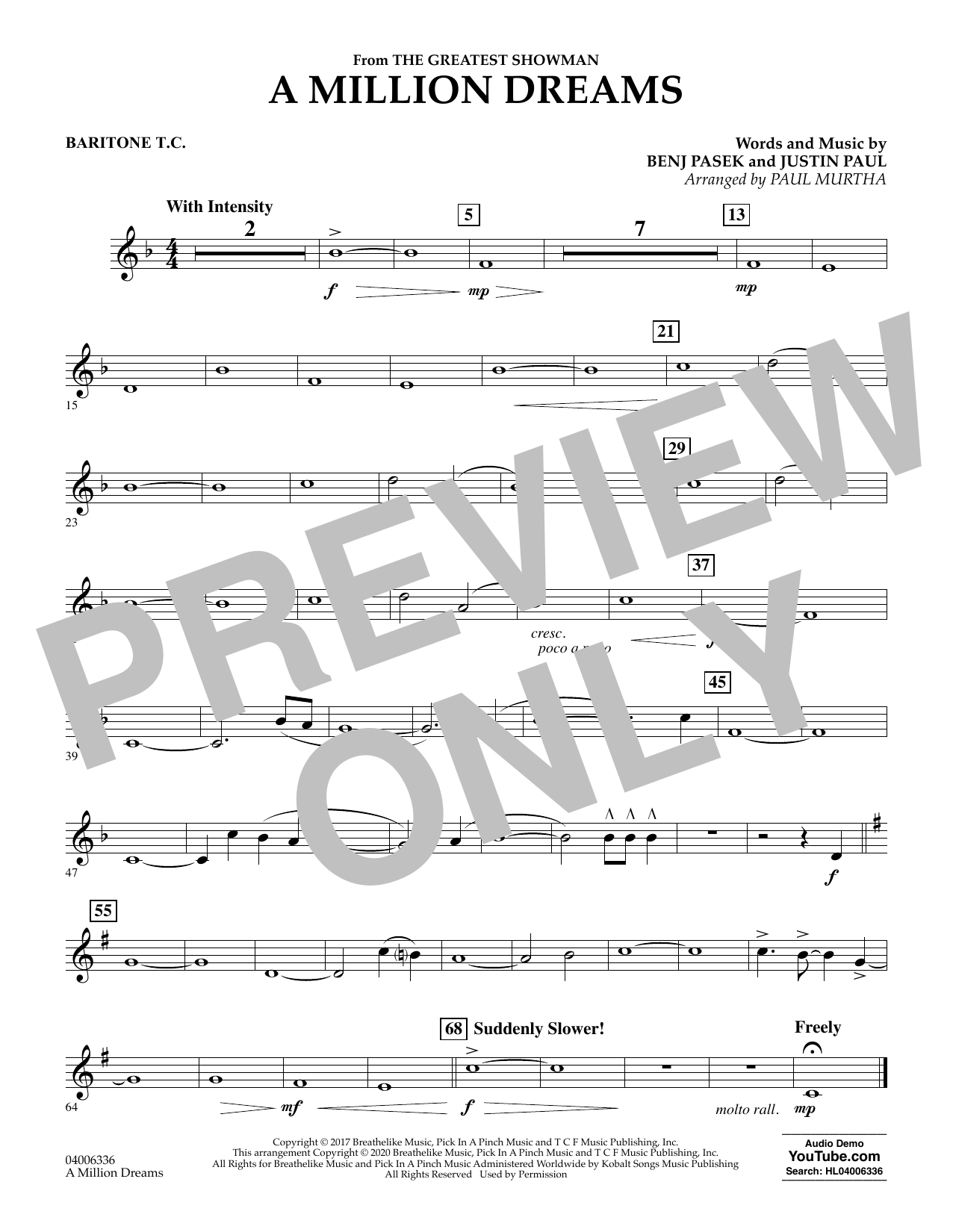A Million Dreams (from The Greatest Showman) (arr. Paul Murtha) - Baritone T.C. (Concert Band)