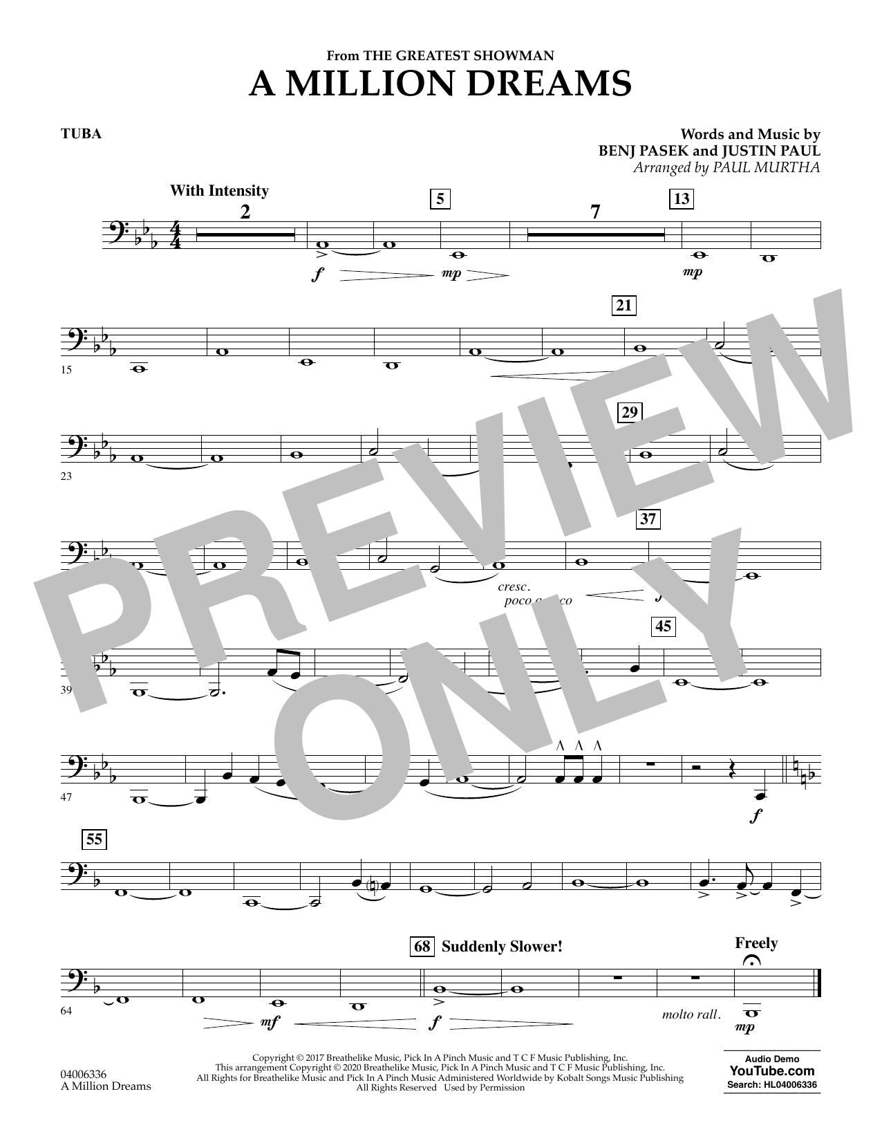 A Million Dreams (from The Greatest Showman) (arr. Paul Murtha) - Tuba (Concert Band)