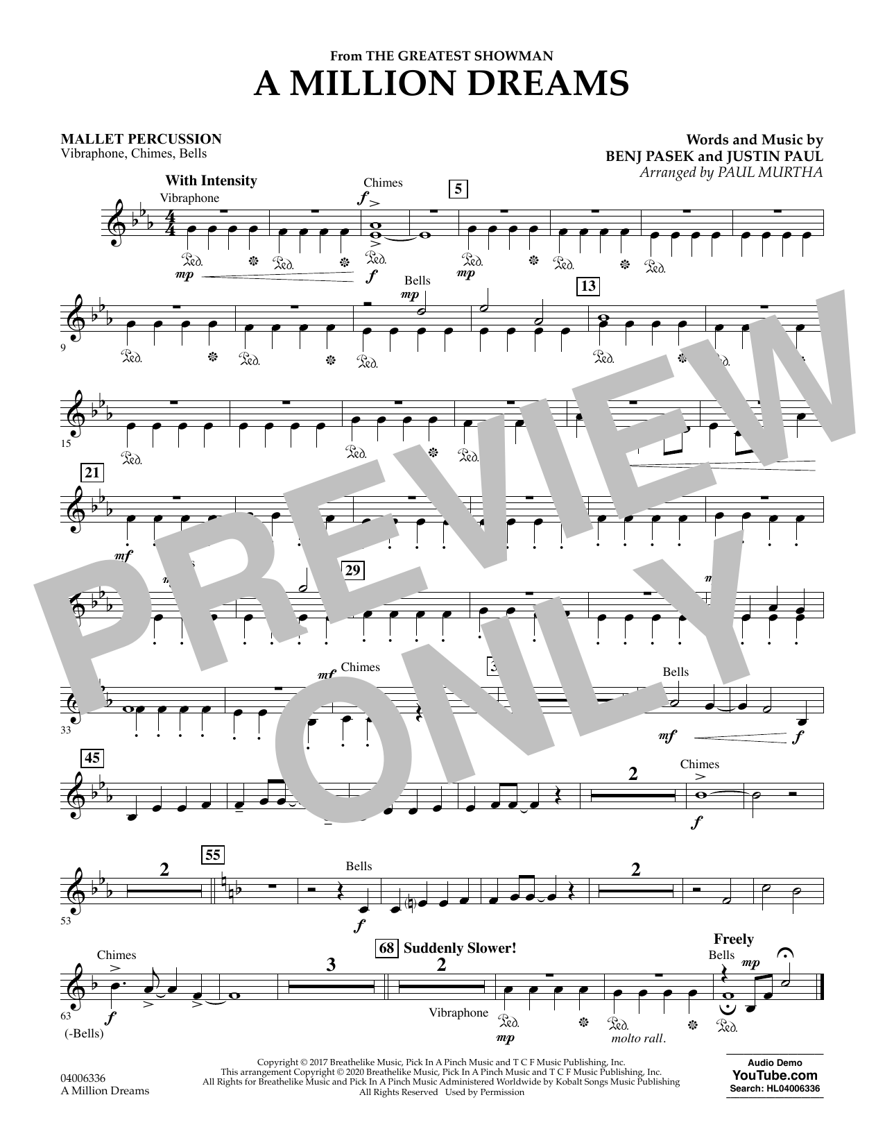 A Million Dreams (from The Greatest Showman) (arr. Paul Murtha) - Mallet Percussion (Concert Band)