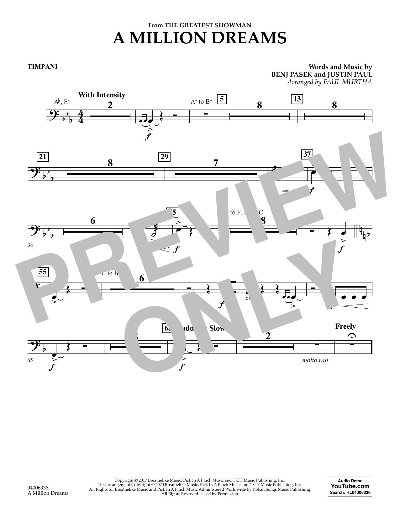 A Million Dreams (from The Greatest Showman) (arr. Paul Murtha) - Timpani (Concert Band)