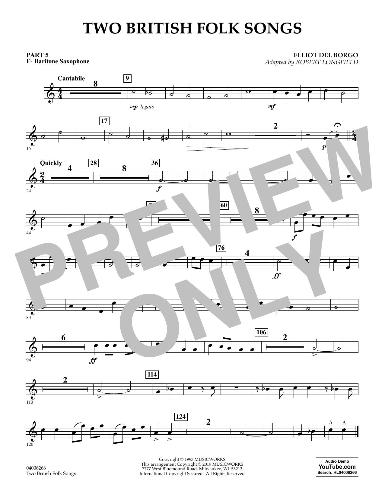 Two British Folk Songs (arr. Robert Longfield) - Pt.5 - Eb Baritone Saxophone (Concert Band)