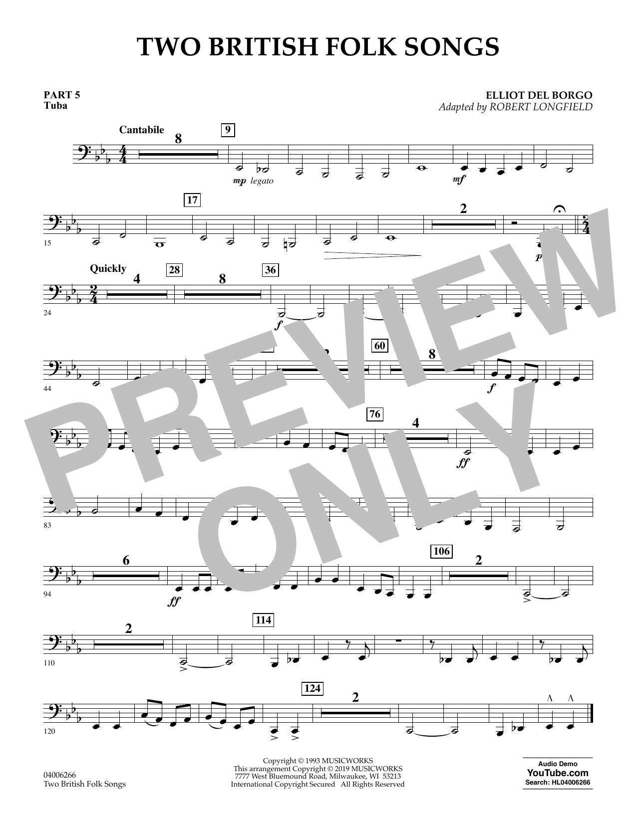 Two British Folk Songs (arr. Robert Longfield) - Pt.5 - Tuba (Concert Band)