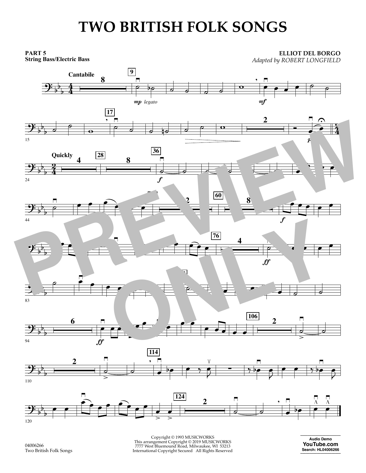 Two British Folk Songs (arr. Robert Longfield) - Pt.5 - String/Electric Bass (Concert Band)