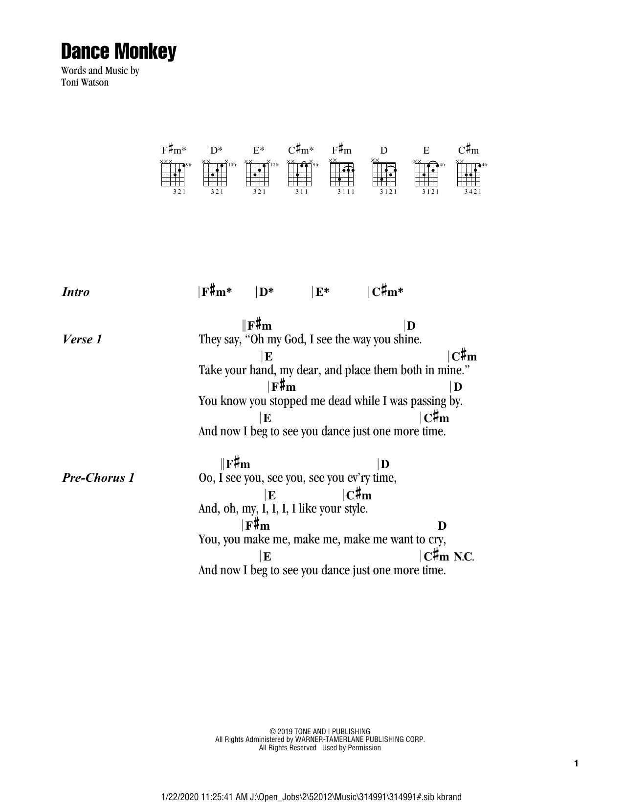 Dance Monkey Guitar Chords Lyrics Print Sheet Music Now