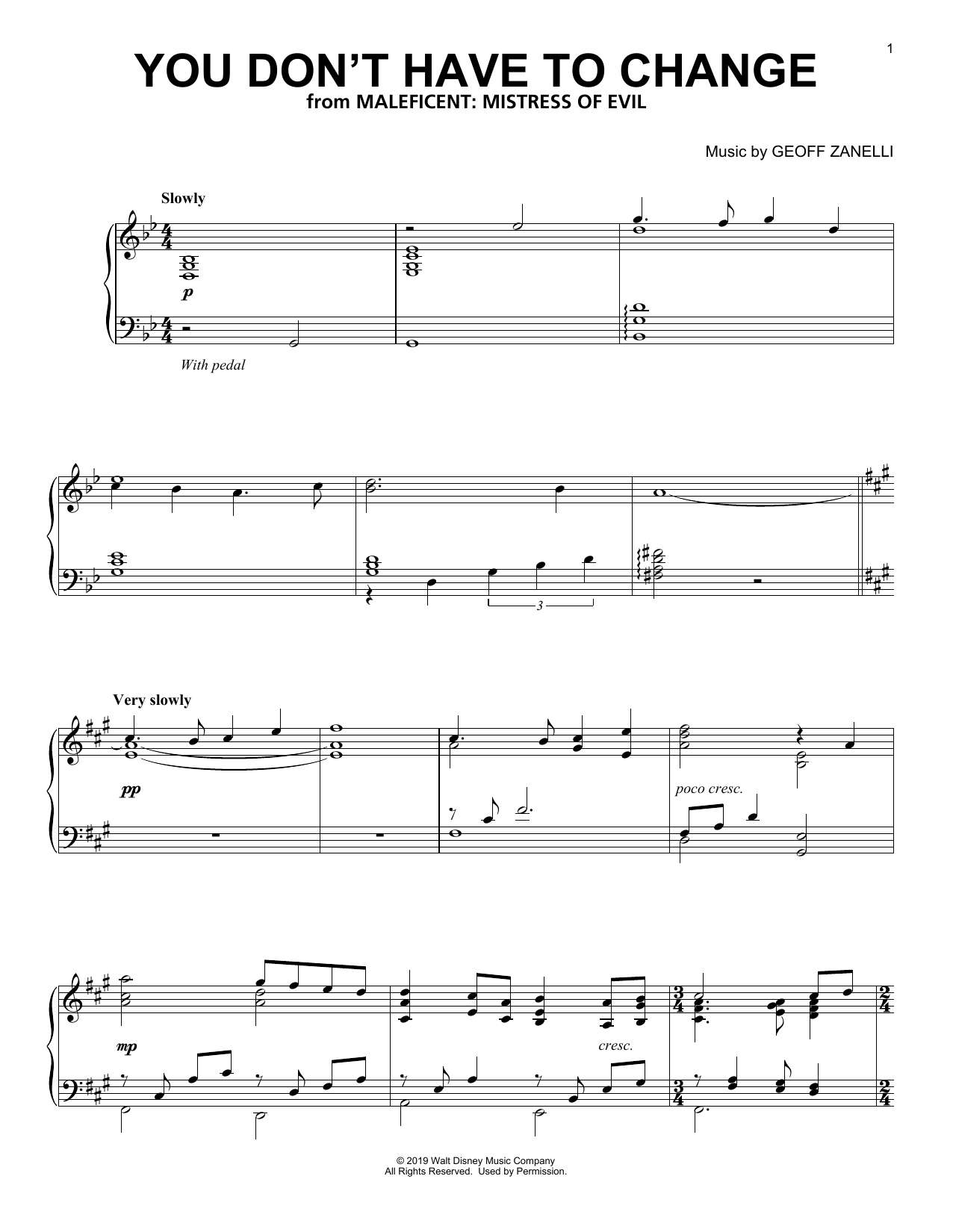 You Don't Have To Change (from Disney's Maleficent: Mistress of Evil) (Piano Solo)