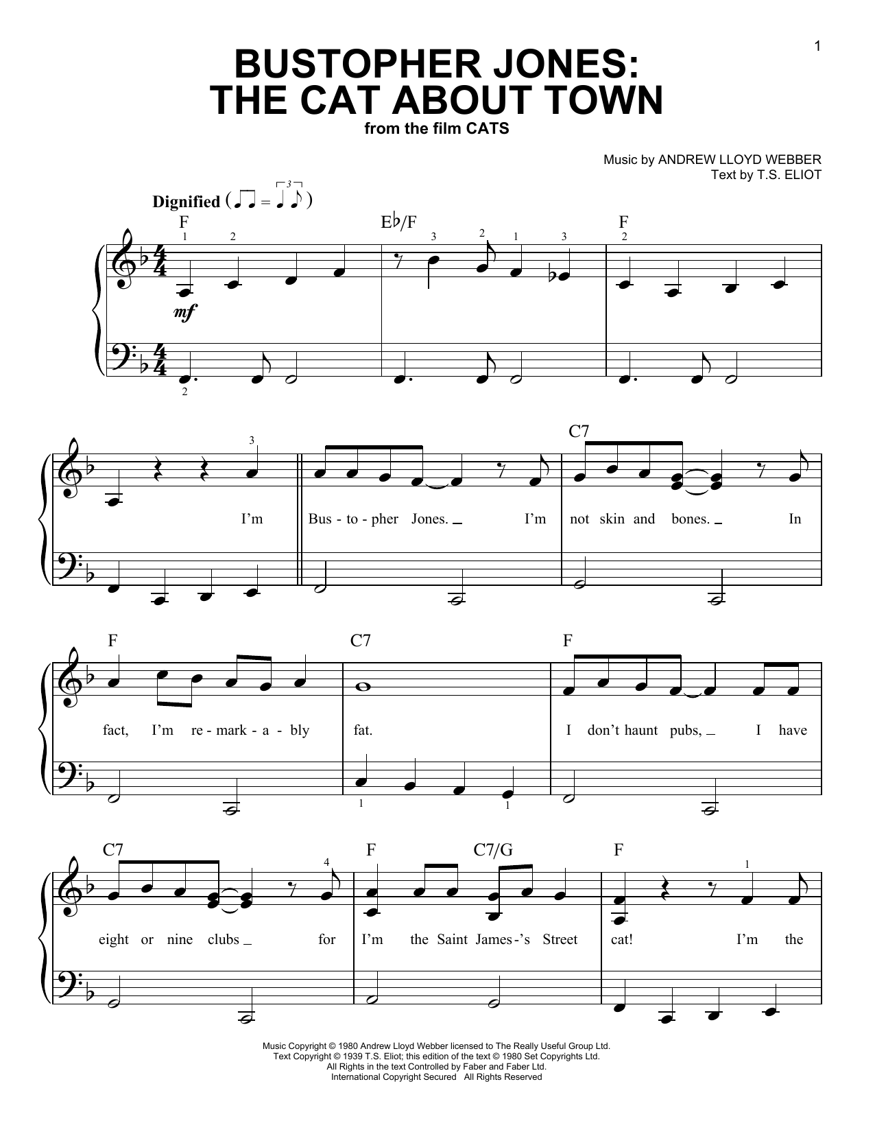 Bustopher Jones: The Cat About Town (from the Motion Picture Cats) (Easy Piano)