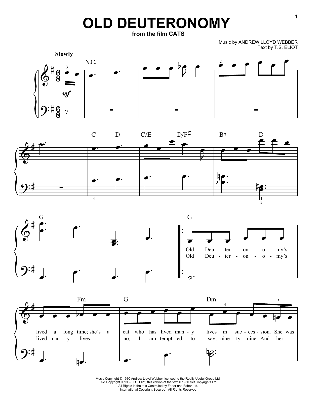 Old Deuteronomy (from the Motion Picture Cats) (Easy Piano)