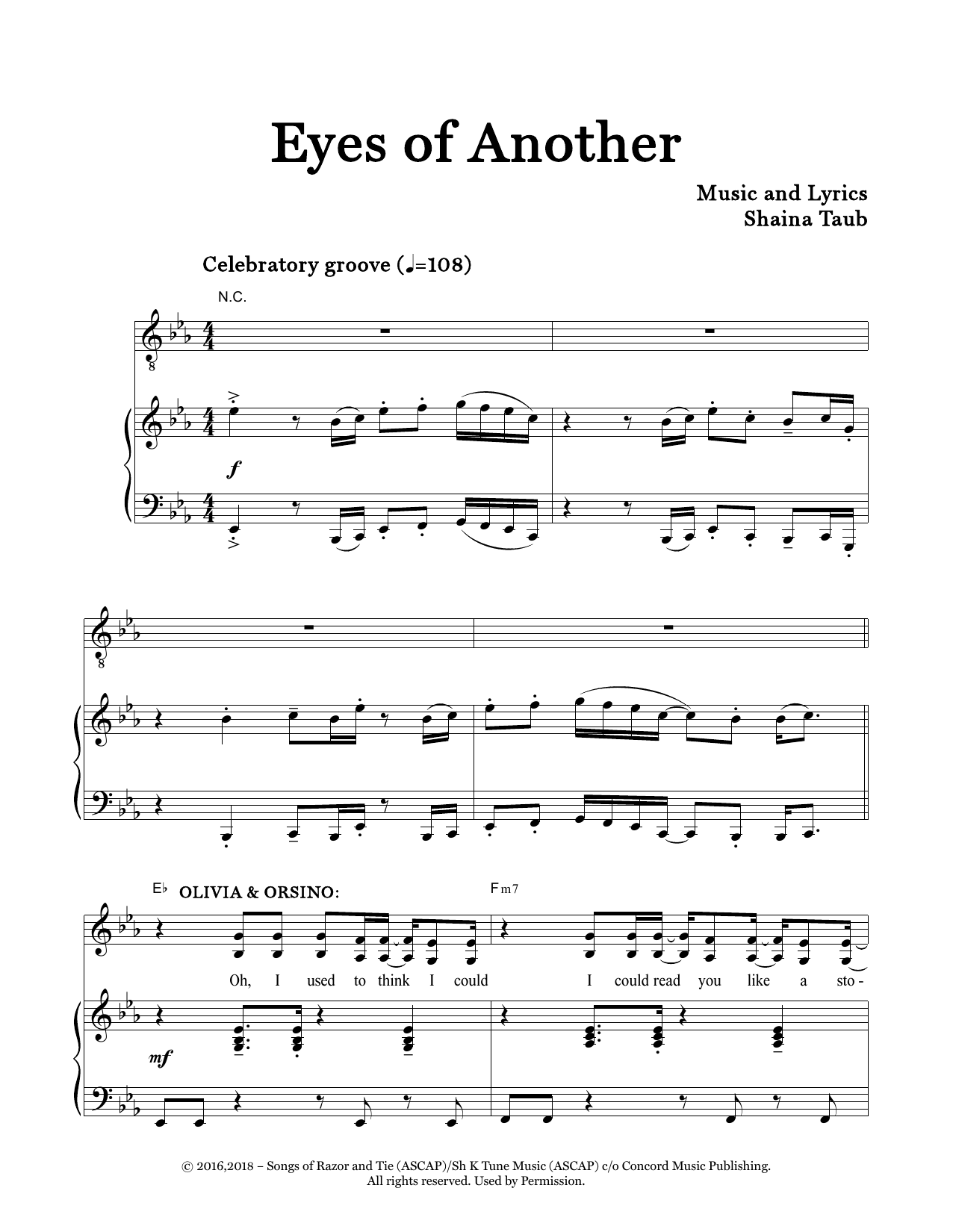 Eyes Of Another (from Twelfth Night) Sheet Music