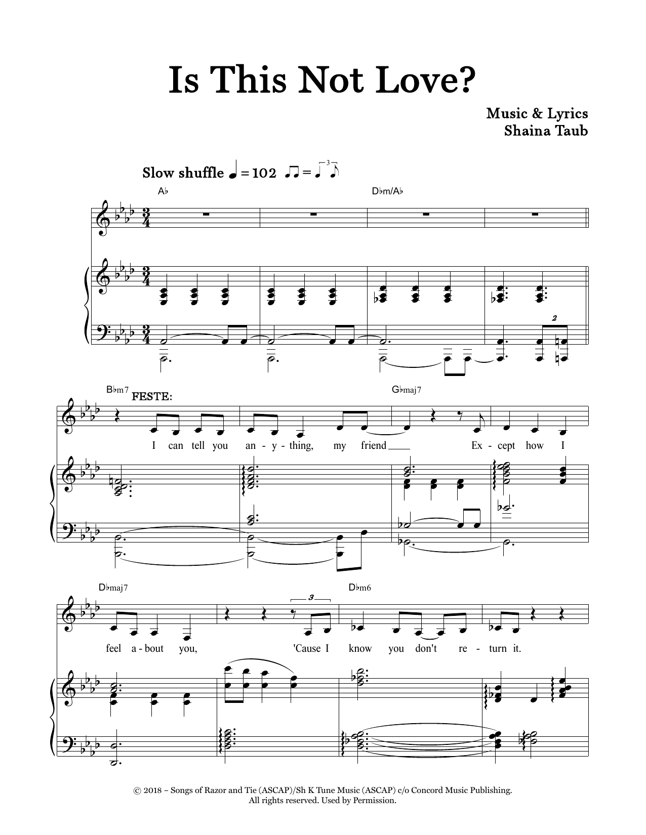 Is This Not Love? (from Twelfth Night) (Piano & Vocal)