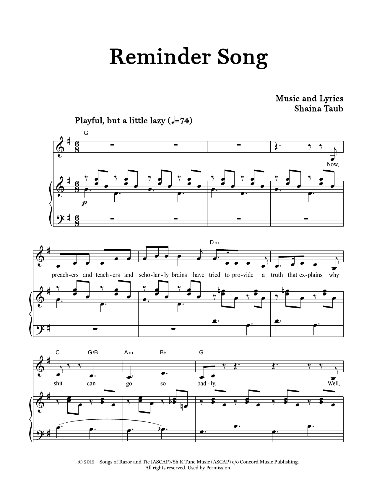 Reminder Song (Piano & Vocal)