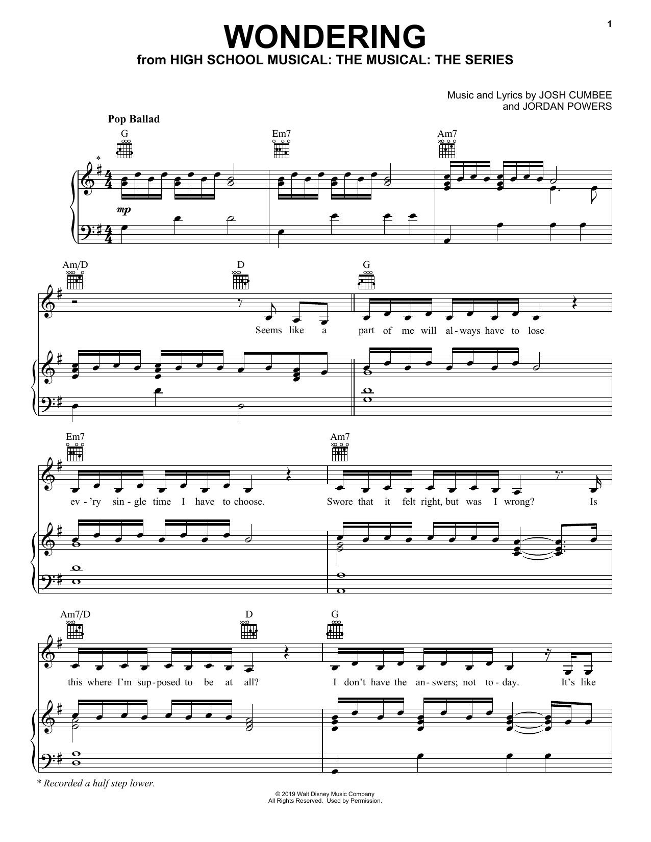 Wondering (from High School Musical: The Musical: The Series) (Piano, Vocal & Guitar (Right-Hand Melody))